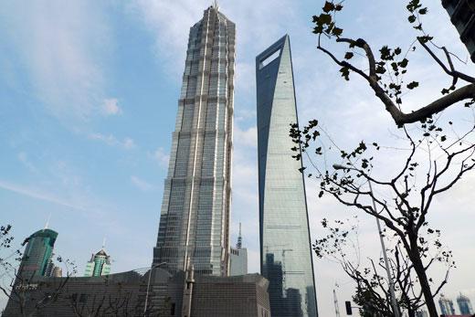金茂大厦(ジンマオタワー)と上海環球金融中心(ワールドファイナンシャルセンター)