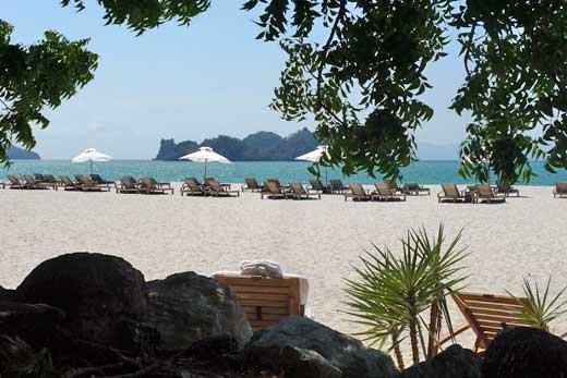 木陰側のデッキから眺めた、砂浜とデッキチェア群